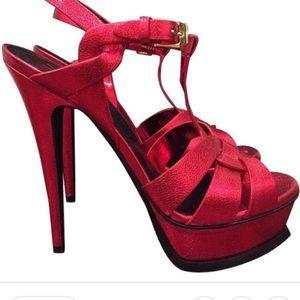Saint Laurent Red tribute metallic heels 38.5